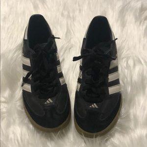 Boys Black & White Adidas Samba Shoes Size 3